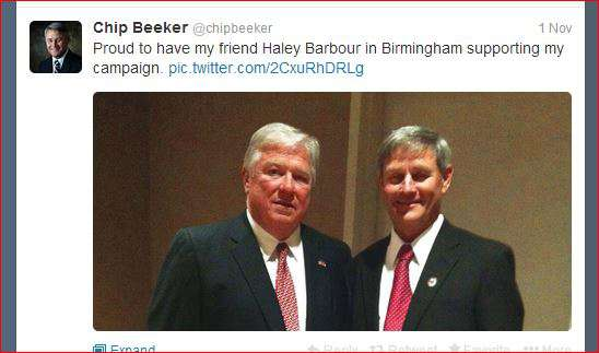 A proud tweet from Chip Beeker showing a picture taken of him with Haley Barbour when the national chairman of the Republican Party and Washington D.C. super-lobbyist came to Alabama for a Beeker fundraiser. Among Barbour's biggest clients: the Southern Company, Alabama Power's corporate parent. If your looking for evidence of Alabama Power's desire to defeat Dunn, you need look no further.
