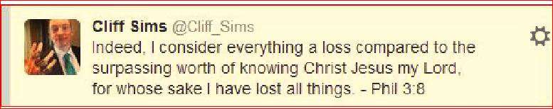 Cliff Sims loves Jesus, and Lies