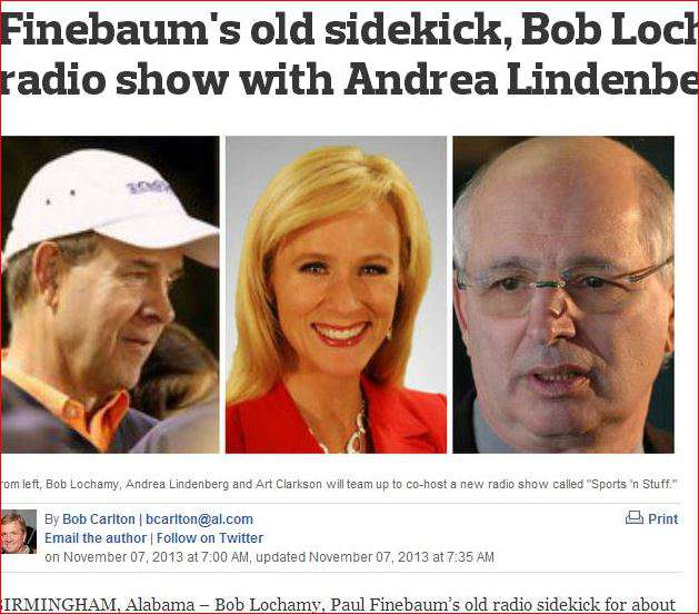 "Lochamy is still dabbling in radio, with a once a week sports talk show on ""The Peach"" radio station."