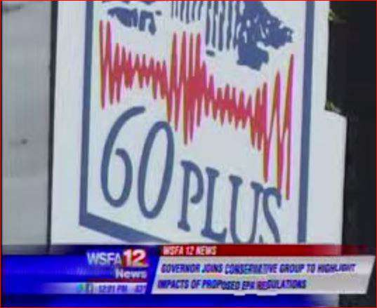 Image from TV report on 60 Plus press conference