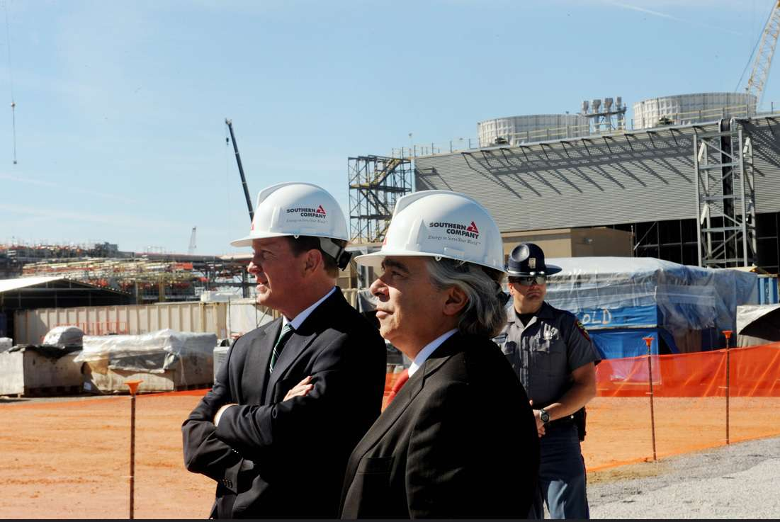 CEO and Chair Tom Fanning (left) and Energy Secretary Ernest Moniz (right) at the Kemper plant in Nov. 2013