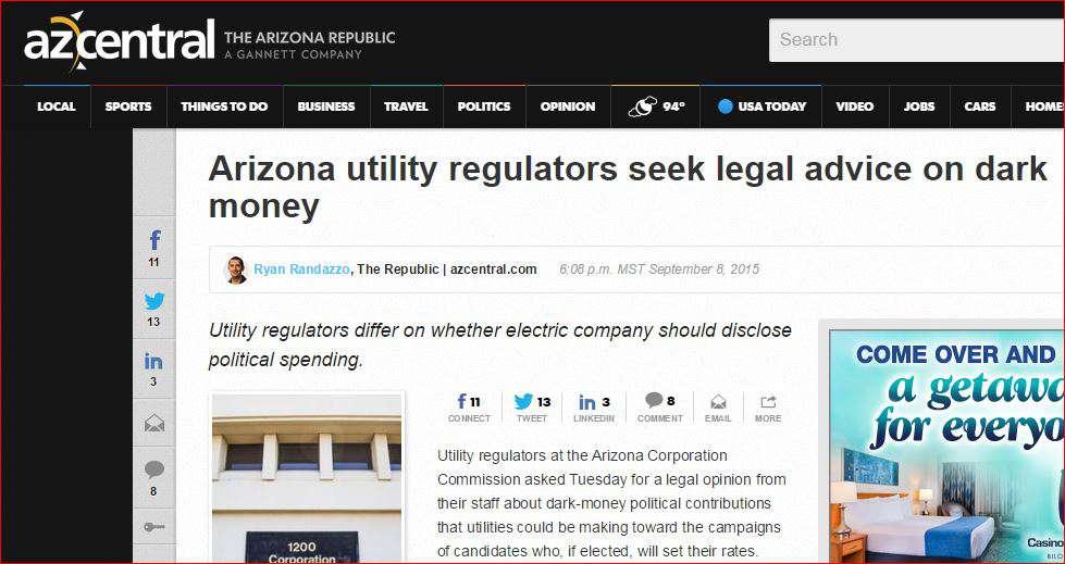Dark Money Story in Arizona Republic