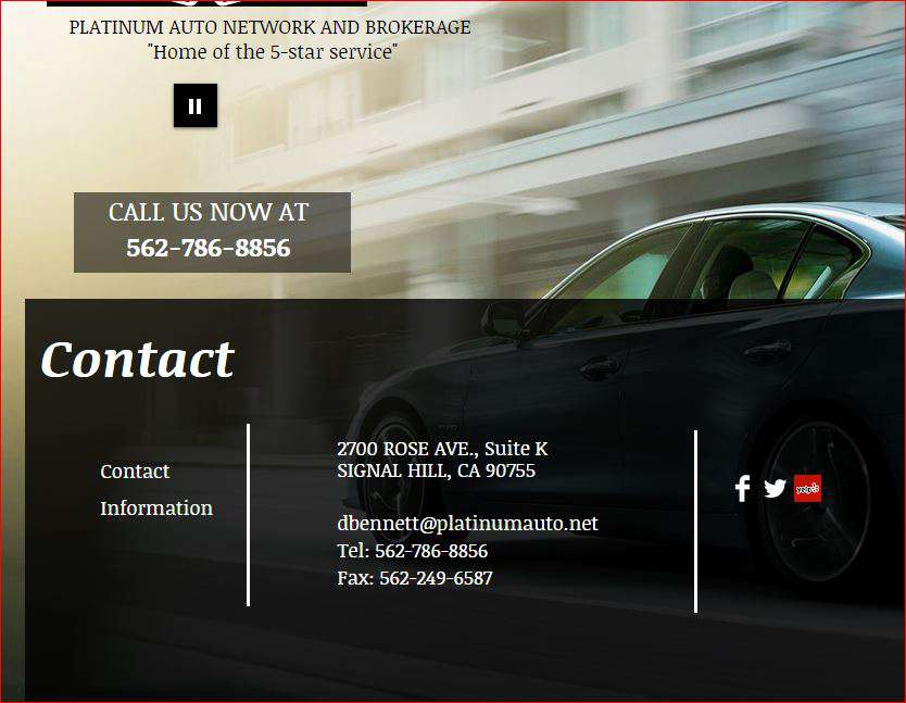 Platinum Car website showing address