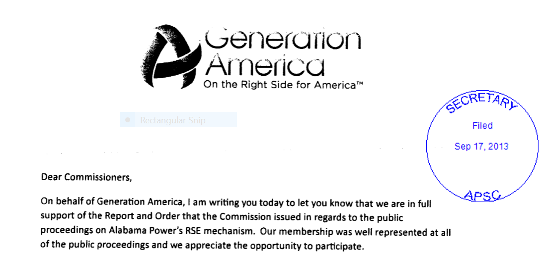 Generation America filing PSC