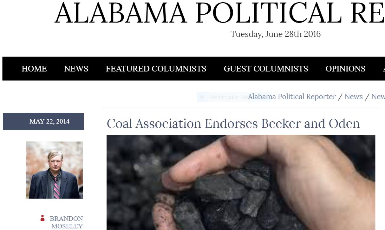 alabama Political Reporter reports coal association endorsements